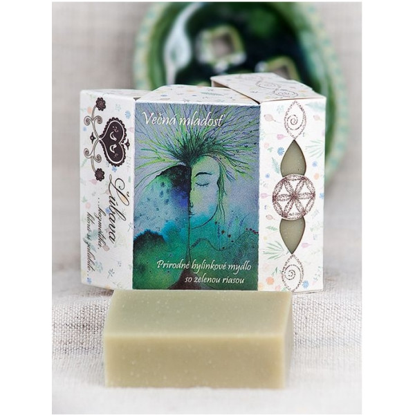 Večná mladosť - prírodné bylinkové mydlo s konopnými otrubami a zelenou riasou, pílingové